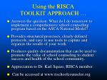 using the risca toolkit approach