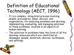 definition of educational technology aect 1996