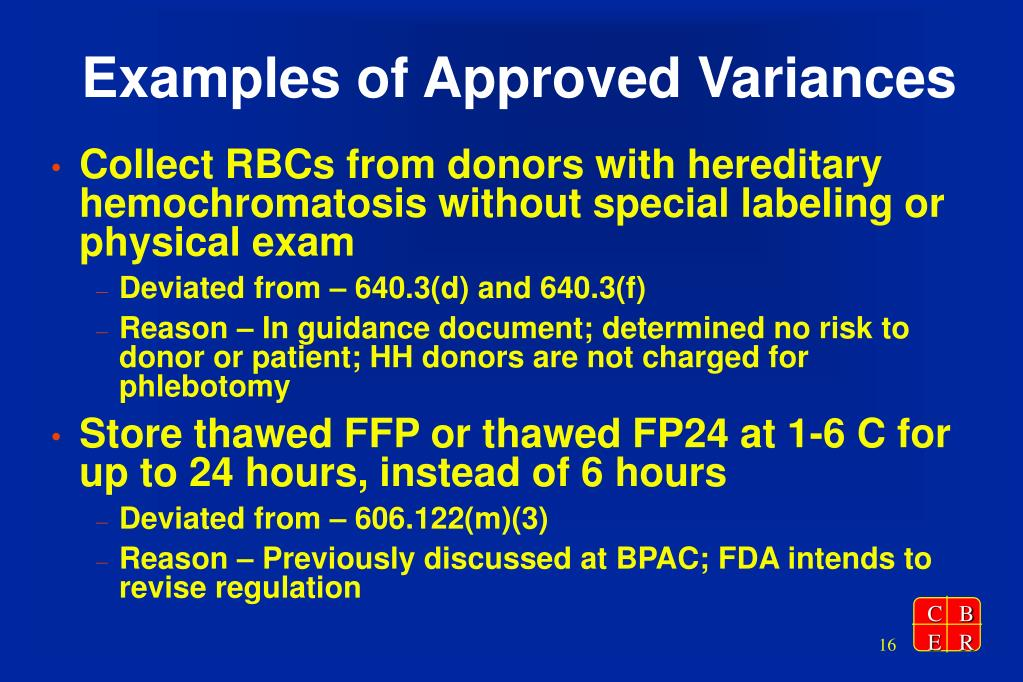 Examples of Approved Variances