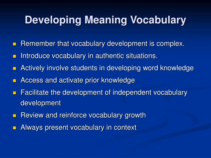 Developing meaning vocabulary2