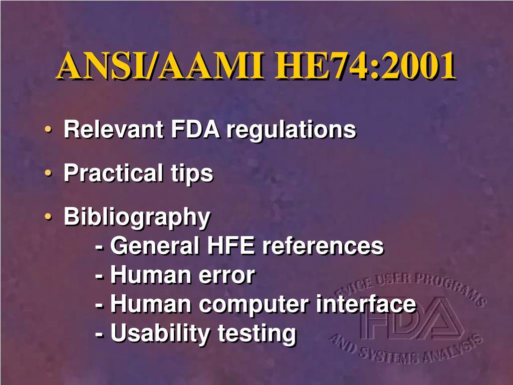 ANSI/AAMI HE74:2001