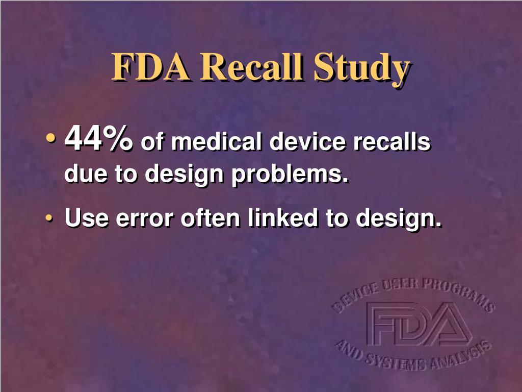 FDA Recall Study