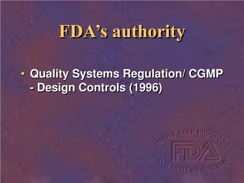 FDA's authority