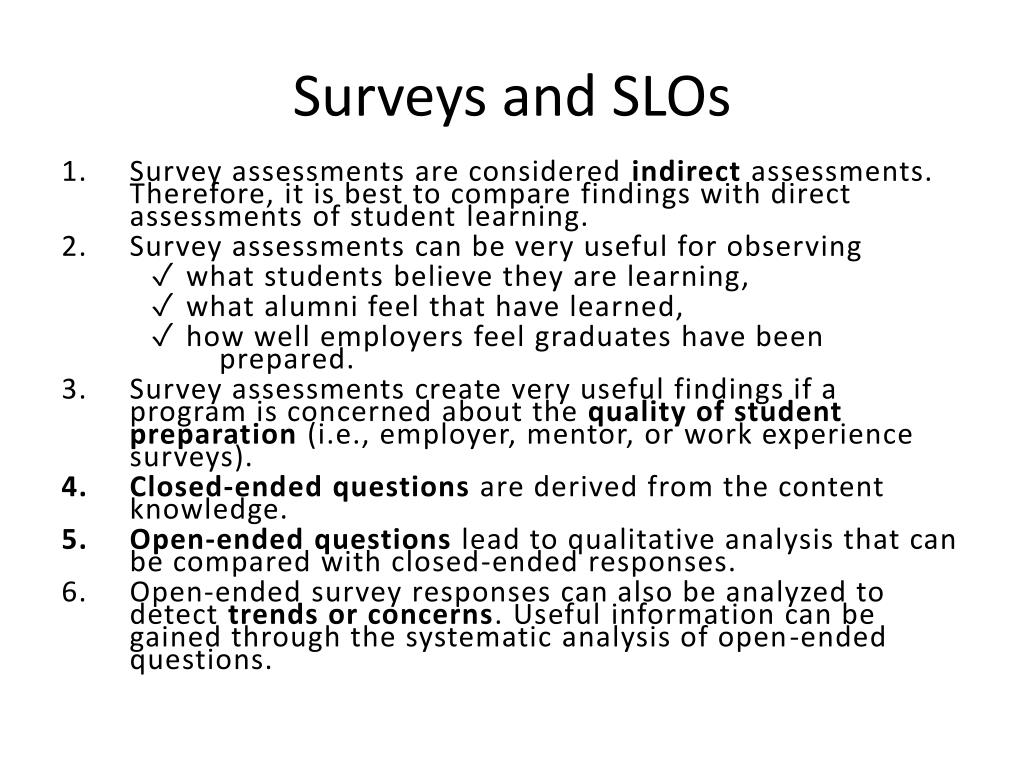Surveys and SLOs