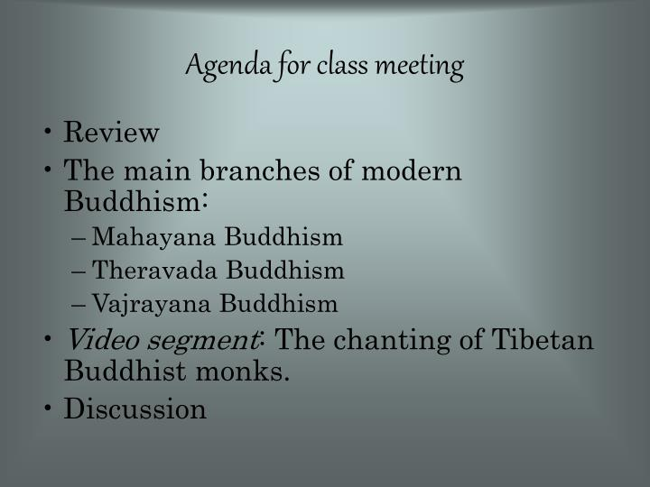 Agenda for class meeting