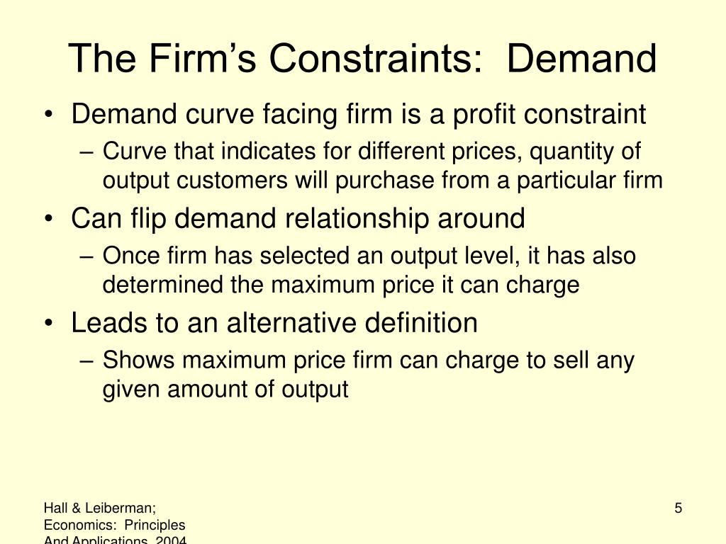 The Firm's Constraints:  Demand