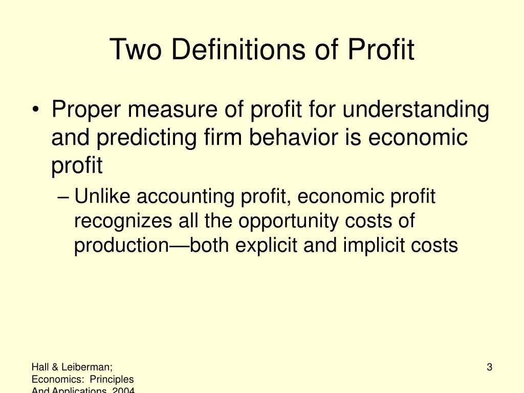 Two Definitions of Profit