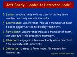 jeff beedy leader to detractor scale