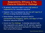 responsibility efficacy the character educator s challenge