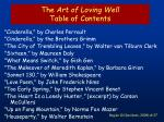 the art of loving well table of contents