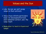 values and the sun