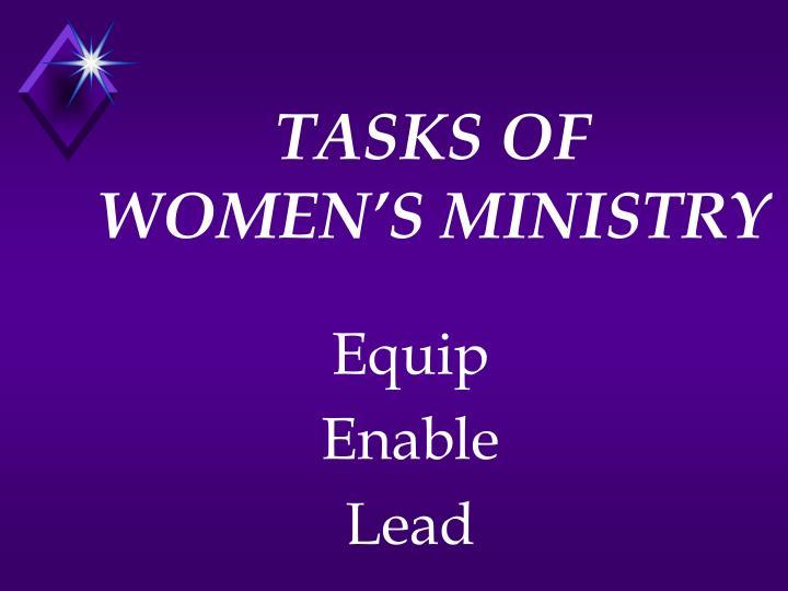 Tasks of women s ministry