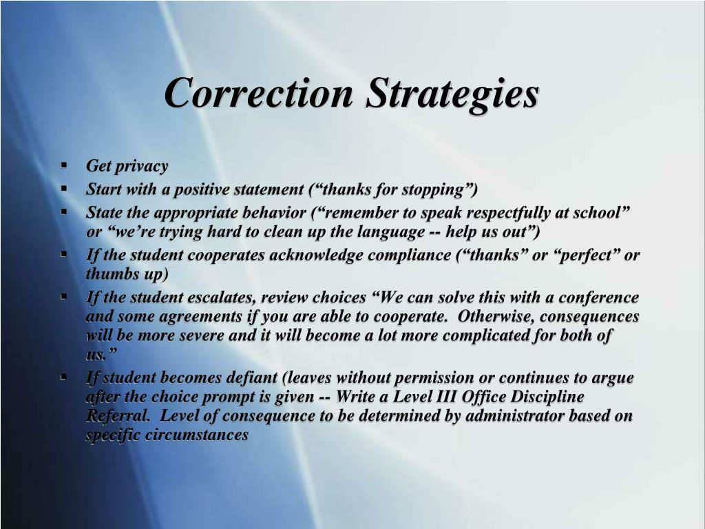 Correction Strategies