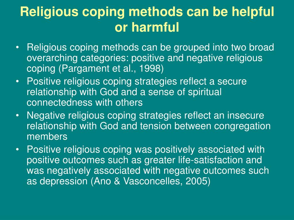 Religious coping methods can be helpful or harmful