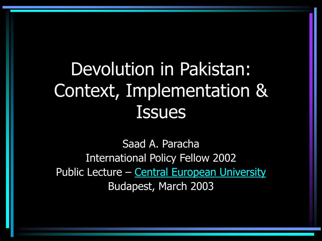 Devolution in Pakistan: