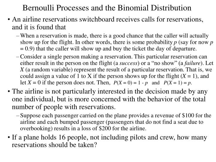 Bernoulli Processes and the Binomial Distribution