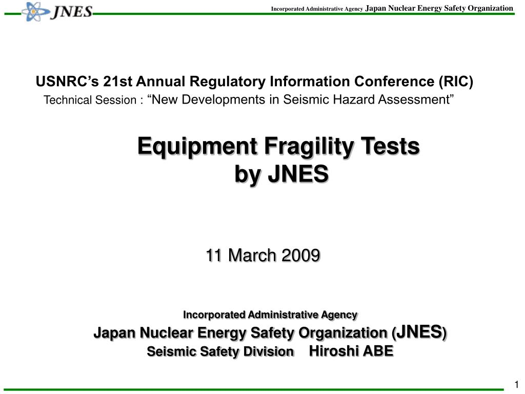 Equipment Fragility Tests