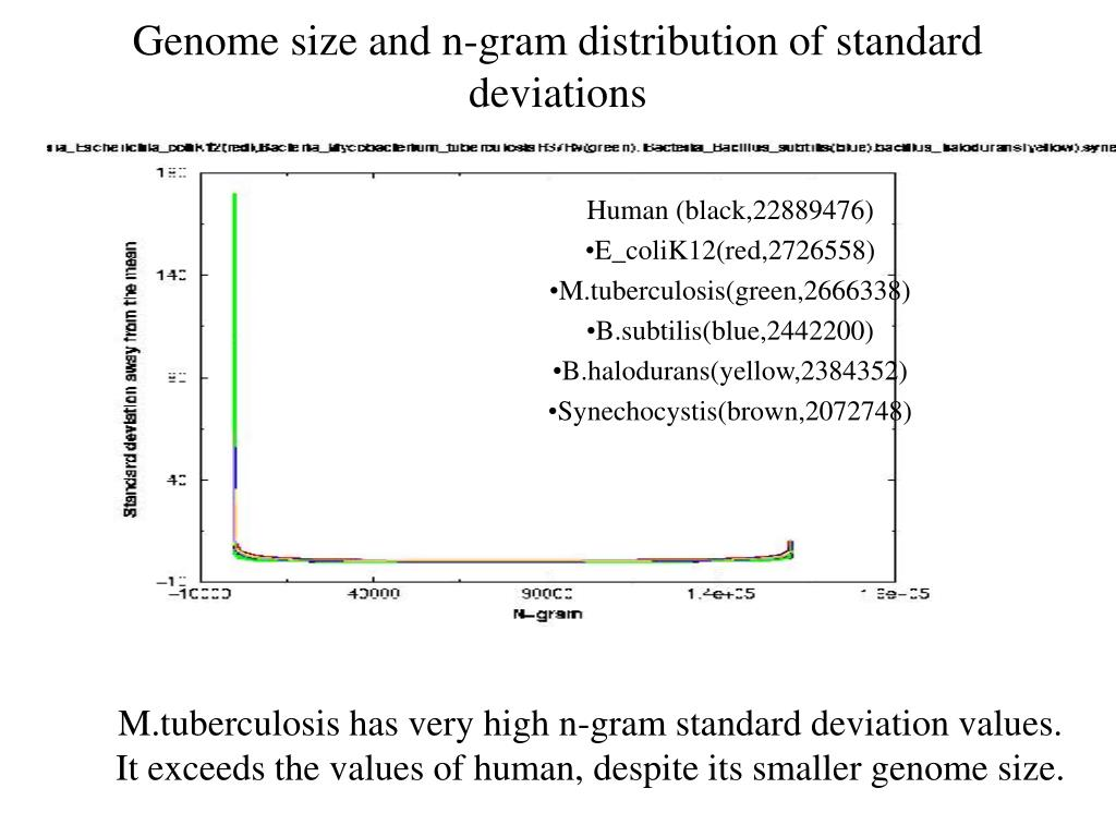 Genome size and n-gram distribution of standard deviations