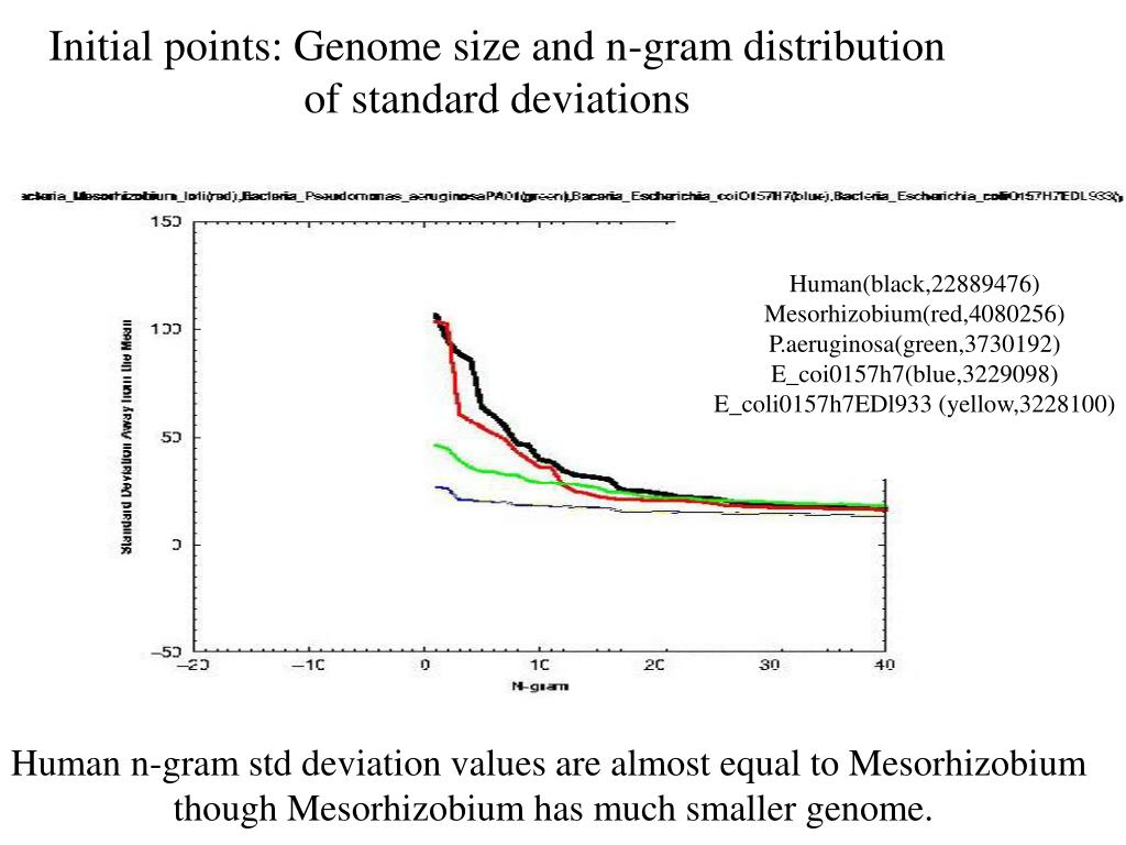 Initial points: Genome size and n-gram distribution of standard deviations