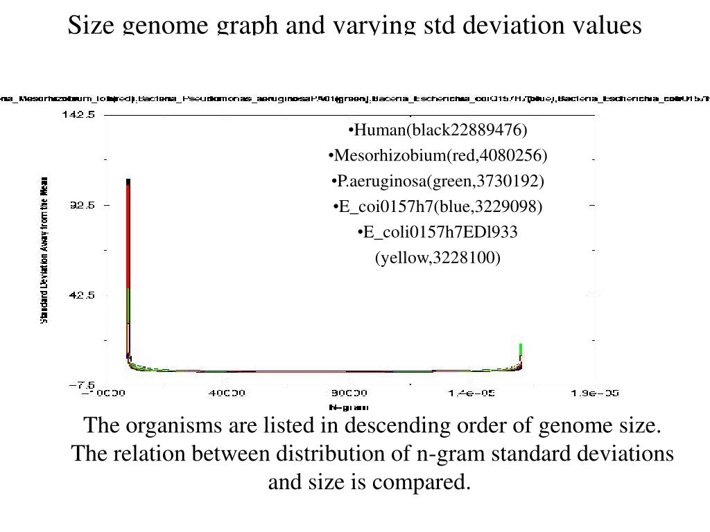 Size genome graph and varying std deviation values