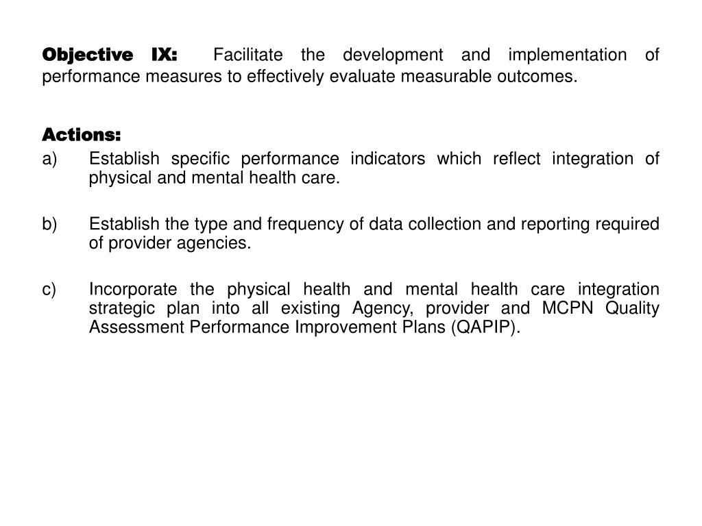 Objective IX: