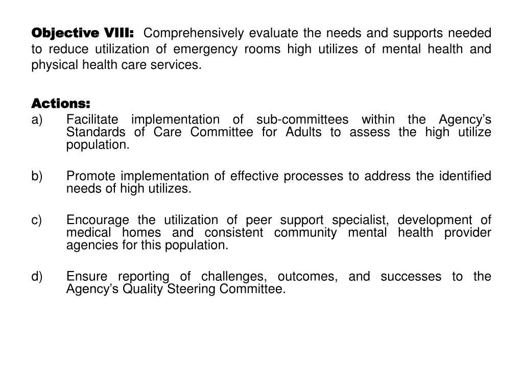 Objective VIII:
