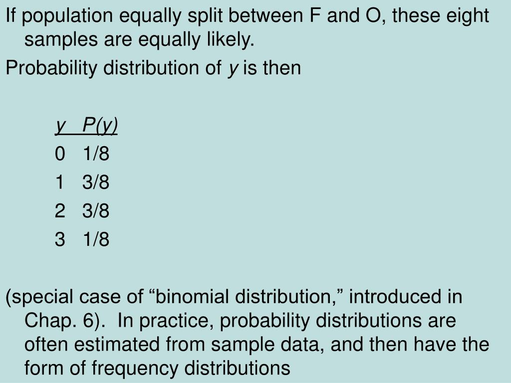 If population equally split between F and O, these eight samples are equally likely.