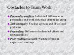 obstacles to team work