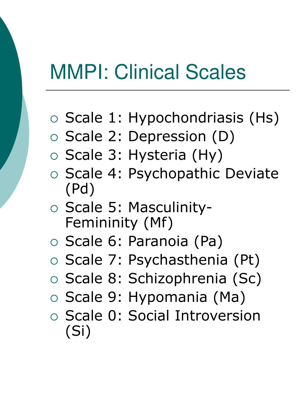 MMPI: Clinical Scales