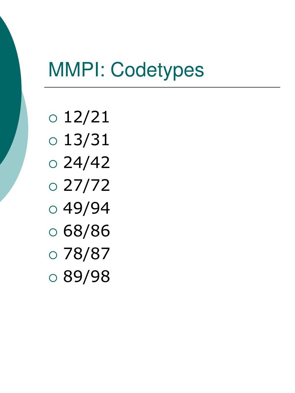 MMPI: Codetypes