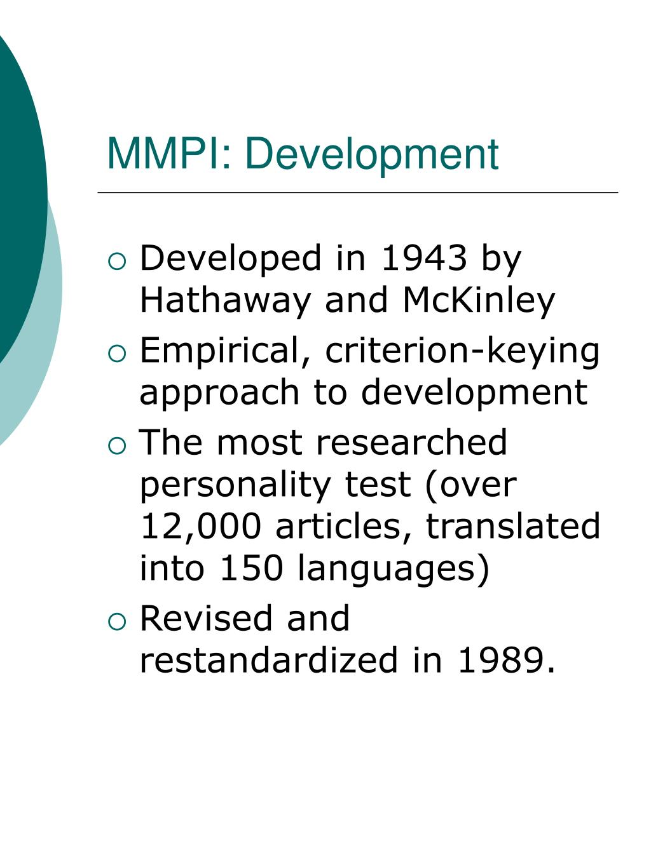 MMPI: Development
