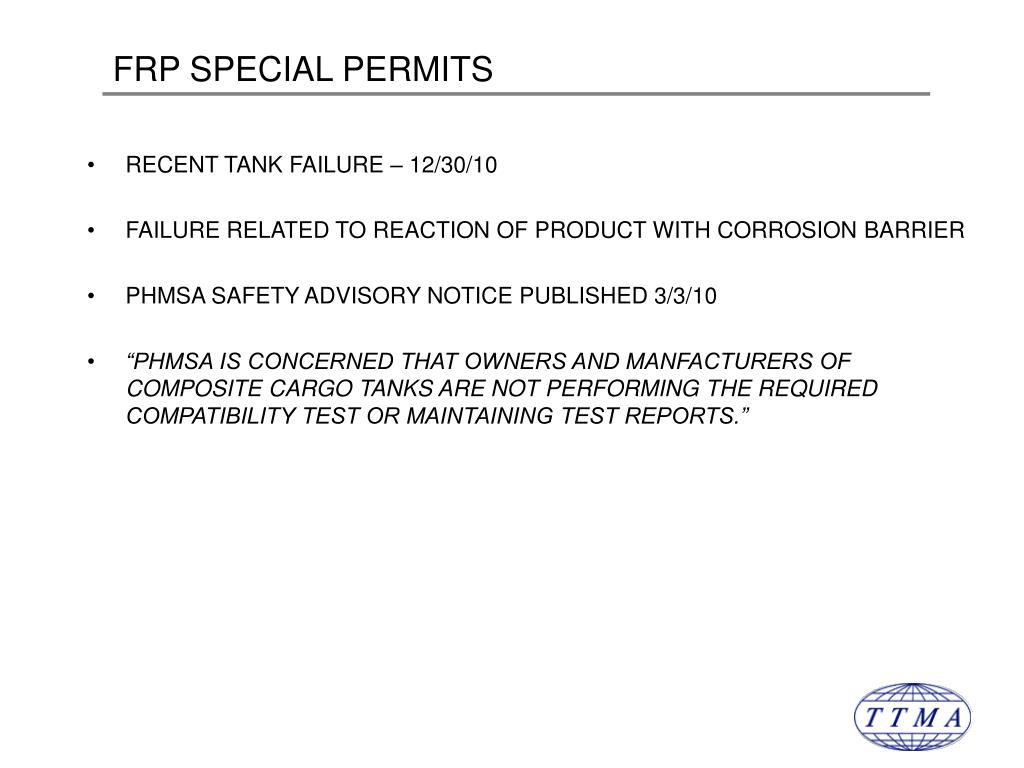 FRP SPECIAL PERMITS