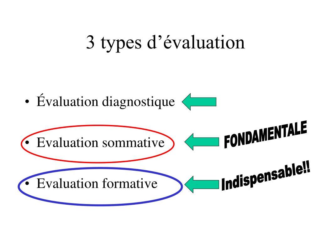 3 types d'évaluation