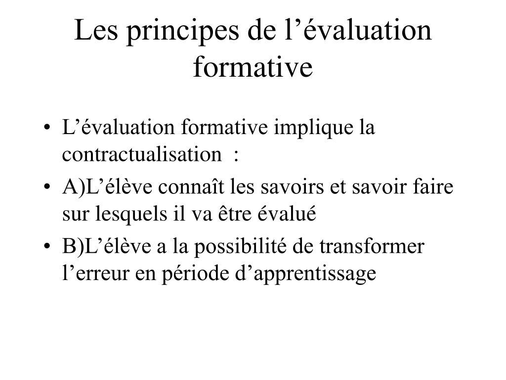 Les principes de l'évaluation formative