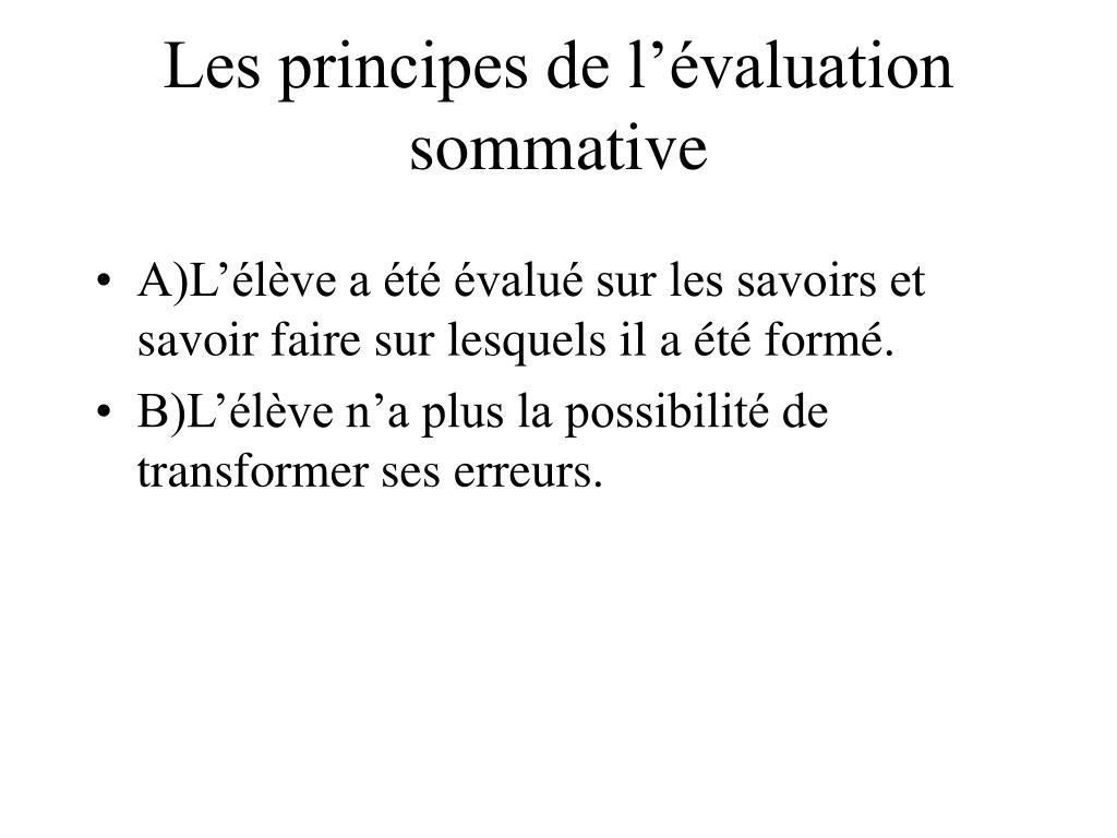 Les principes de l'évaluation sommative