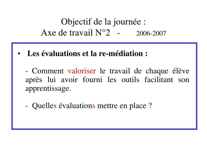 Objectif de la journ e axe de travail n 2 2006 2007
