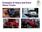 examples of heavy and extra heavy trucks