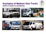 examples of medium size trucks gvw of 10 001 to 20 000 lbs