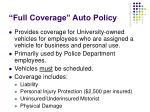 full coverage auto policy
