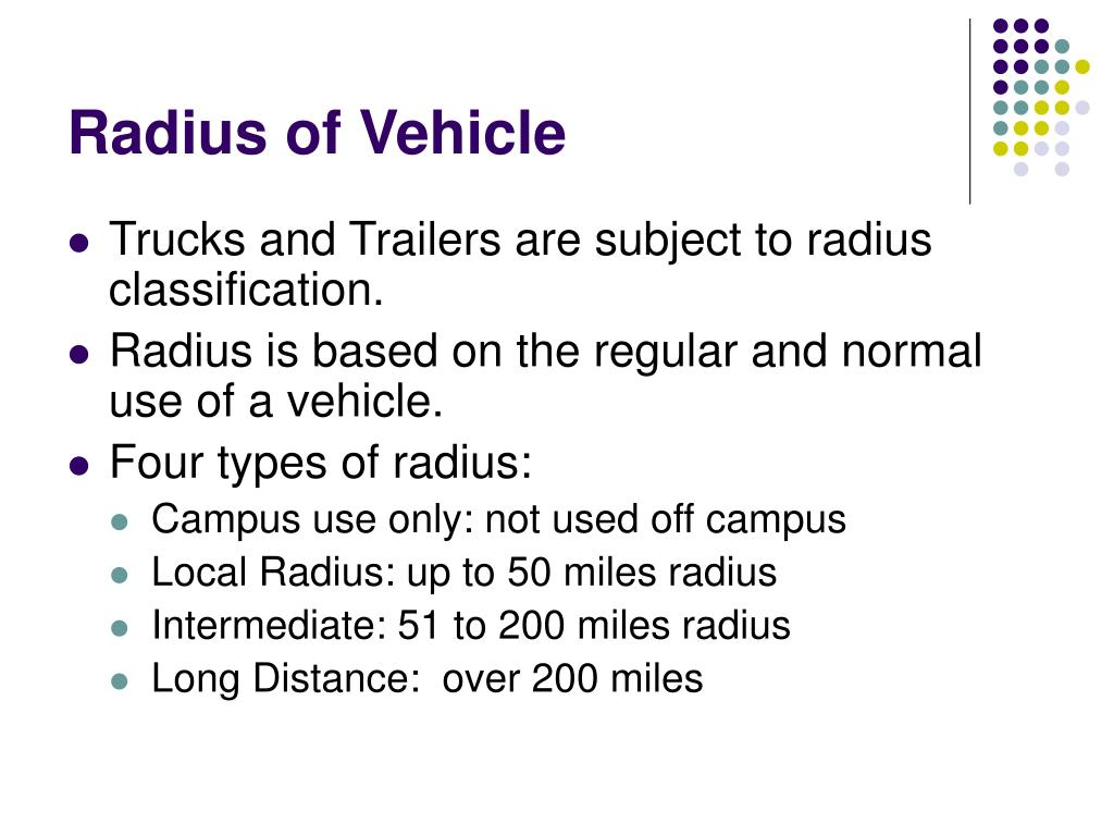 Radius of Vehicle