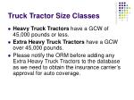 truck tractor size classes