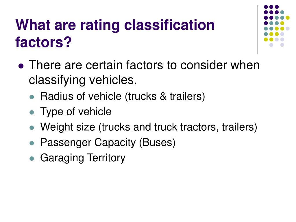 What are rating classification factors?