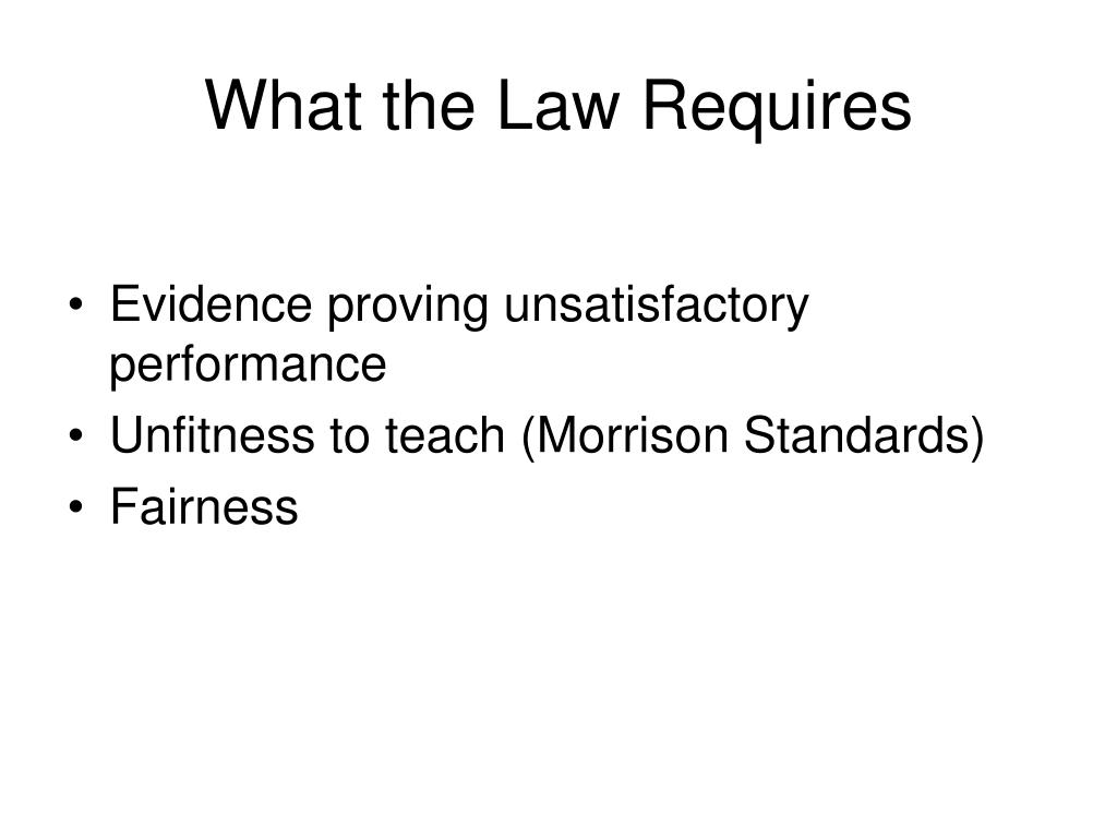 What the Law Requires