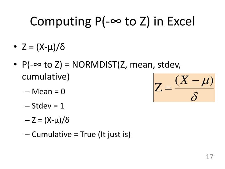 Computing P(-∞ to Z) in Excel