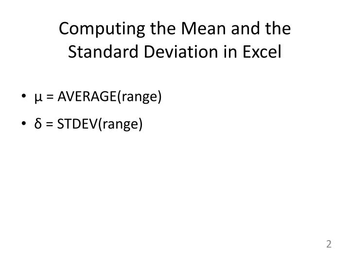 Computing the mean and the standard deviation in excel