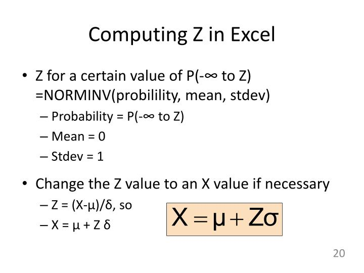 Computing Z in Excel