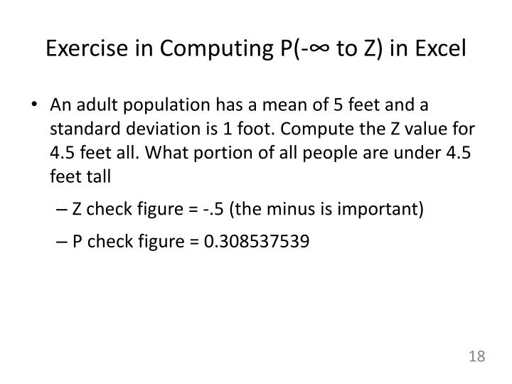 Exercise in Computing P(-∞ to Z) in Excel