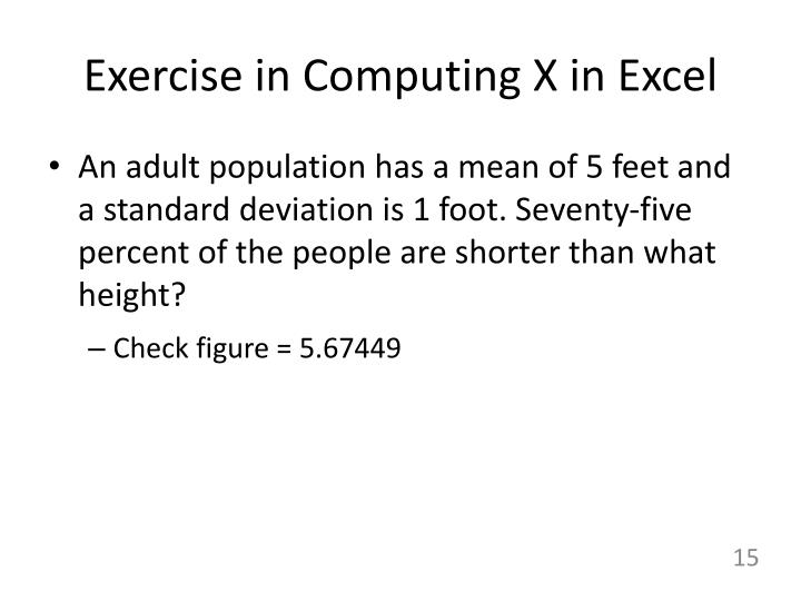 Exercise in Computing X in Excel
