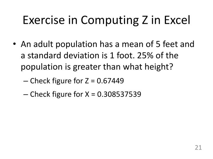 Exercise in Computing Z in Excel