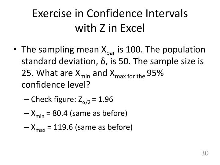 Exercise in Confidence Intervals